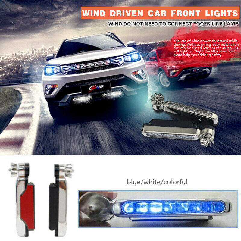 Wind Driven Car Front Lights With Fan Rotation For Car Fog Warning