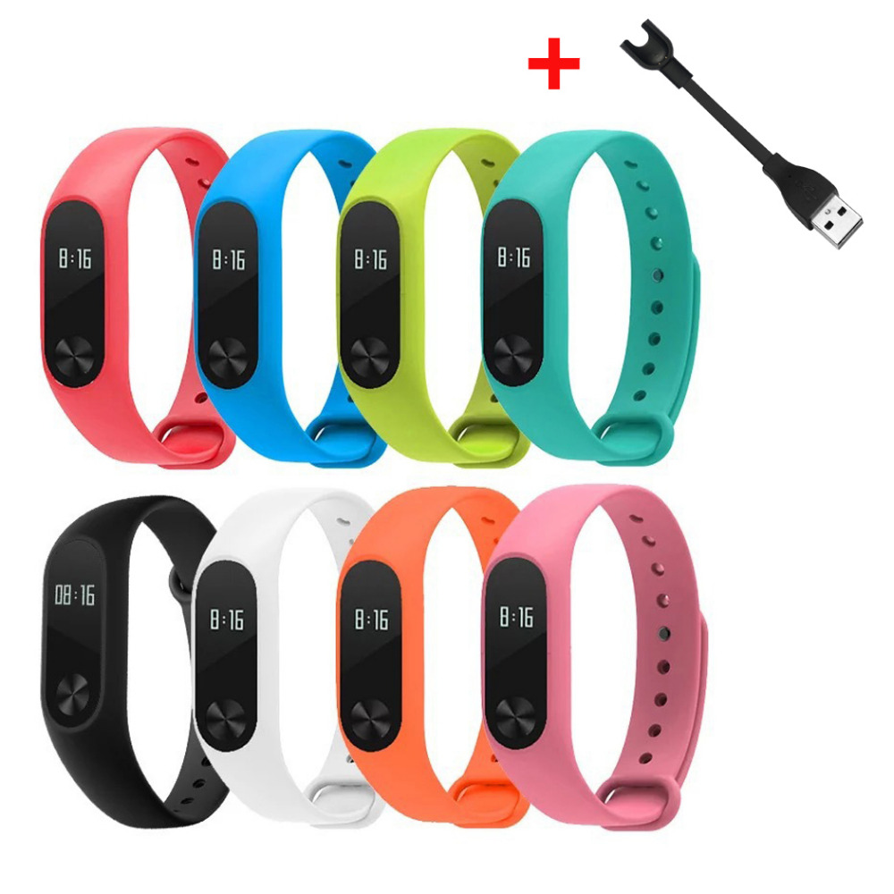 Silicone Strap+Replacement USB charger cable for Xiaomi Mi Band 2 MiBand 2 Colorful Wristband Watchband for Xiaomi Band 2 | Watchbands