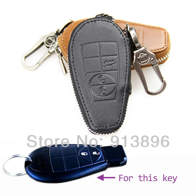 smart key holder case Jeep Car Grand Cherokee Fob cover Dodge Journey Ram Leather remote keychain shell wallet/bag - OneParts store