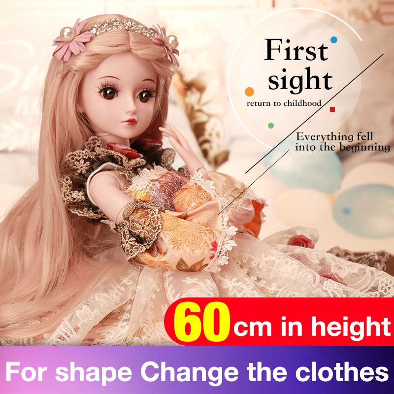 BARBIE 1/3 BJD Doll Princess Dolls 19 Joint Body Party Dress Eyes Wig Makeup Dressup With Outfit Dress Toys for Children ucanaan 1 3 bjd sd doll beauty and the beast girls dolls with outfit dress wig makeup princess doll for children new year gifts