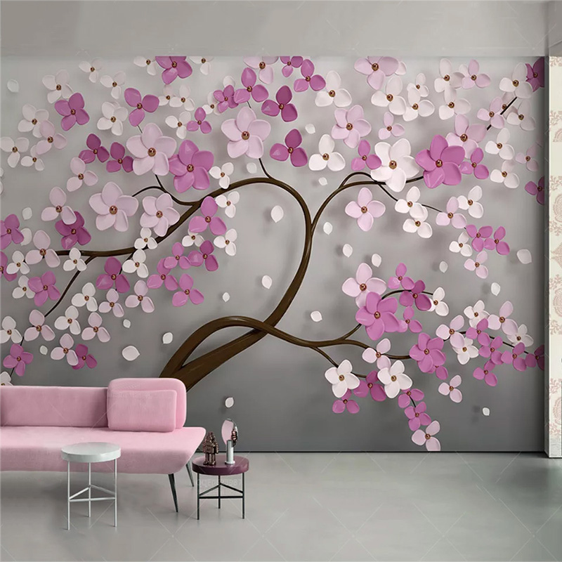 Custom Any Size Mural Wallpaper Modern 3D Stereo Purple Flowers Wall Painting Creative Abstract Art Wall Papers Living Room 3 D