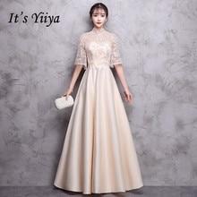 Ini Yiiya Bridesmaid Gaun Sampanye O-Leher Setengah Lengan 6 Warna Gaun  Pesta Anak Perempuan 75a7bc938b50