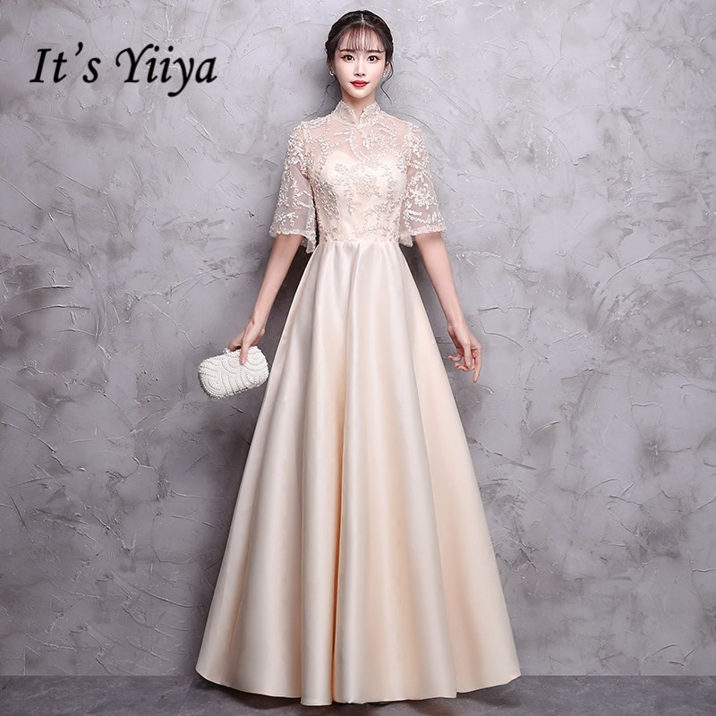 It's YiiYa   Bridesmaid     Dress   Champagne O-neck Half Sleeve 6 Colors Party   Dresses   Girls Fashion Long Gown For   bridesmaid   E042