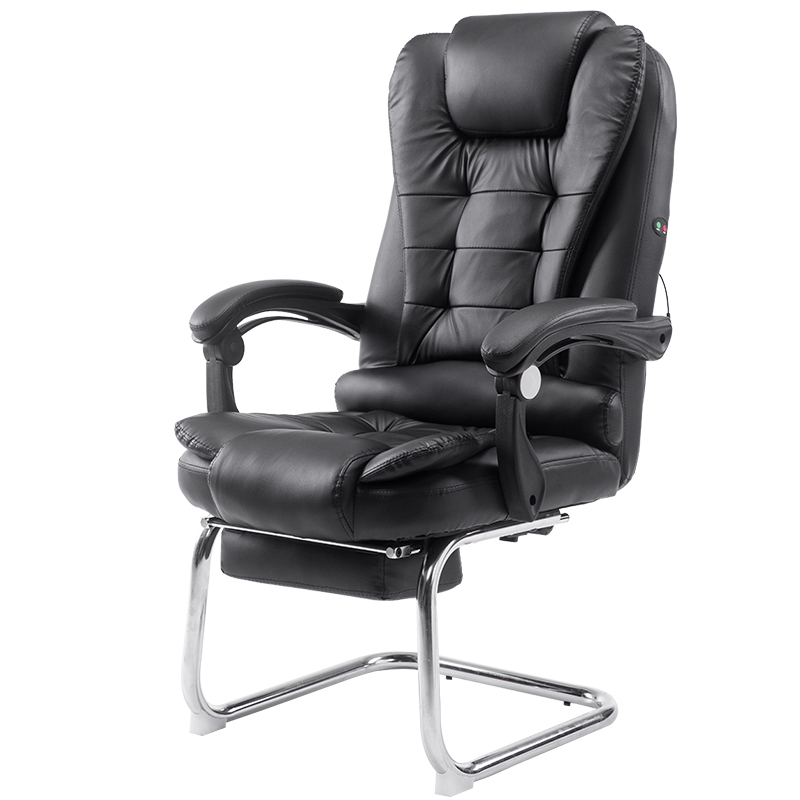 Household Massage Bow Chair Reclining Office Chair PU Comfortable and Soft Reclining Multifunction Computer Chair with Footrest