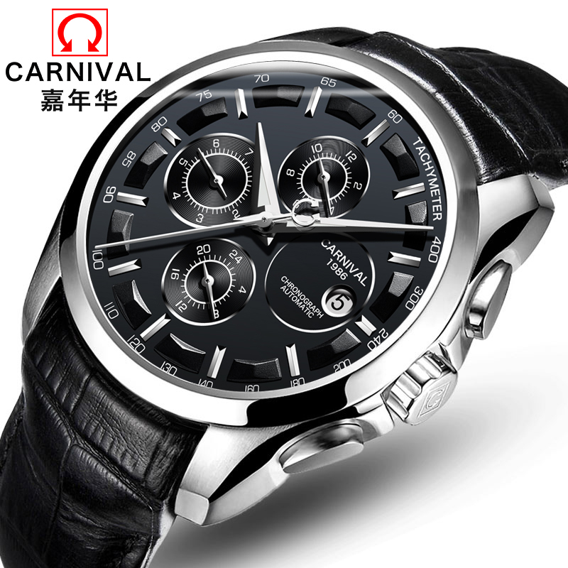 цена на Carnival Automatic Mechanical Watches Steel Leather Strap Watch Men Sapphire Crystal 30M Waterproof Male Clock horloges mannen