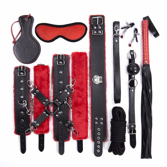 10pcs BDSM Bed Bondage Set Kit Restraints Collar Whip Gag Cuffs Kinky  Fetish Toy