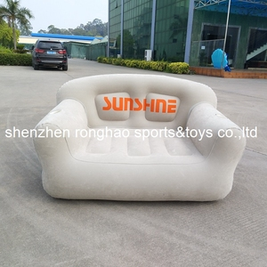Image 1 - New Design Flocked PVC Inflatable Living Sofa Lounge Air Chair With Cup Holder Indoor Outdoor Double Seat Person Sofas