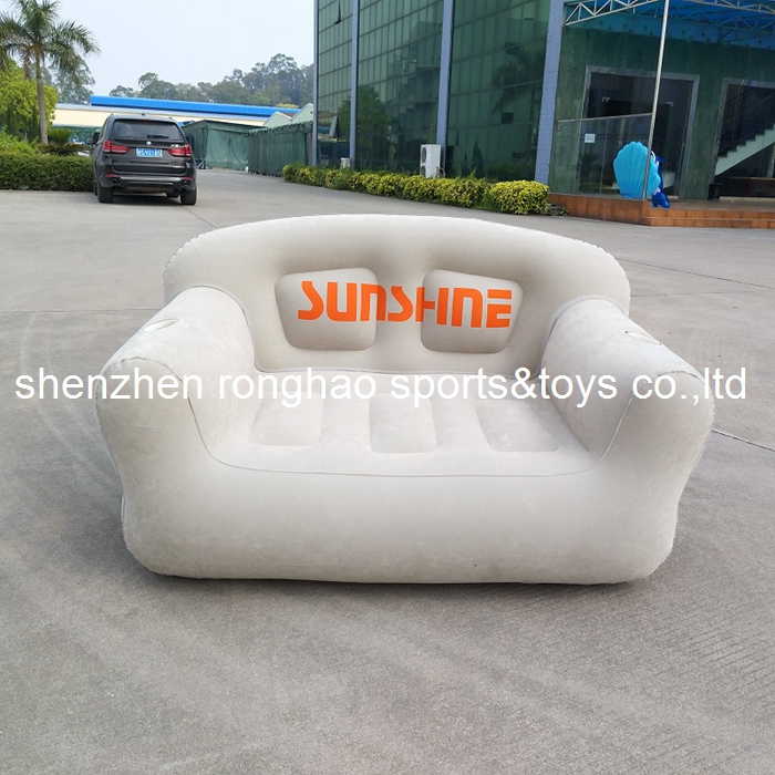 New Design Flocked PVC Inflatable Living Sofa Lounge Air Chair With Cup Holder Indoor Outdoor Double Seat Person Sofas