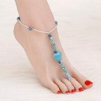 ZOZHI Vintage women bohemian anklet bracelet foot accessories Blue Stone ankle bracelets feet jewelry Wholesale anklet for women
