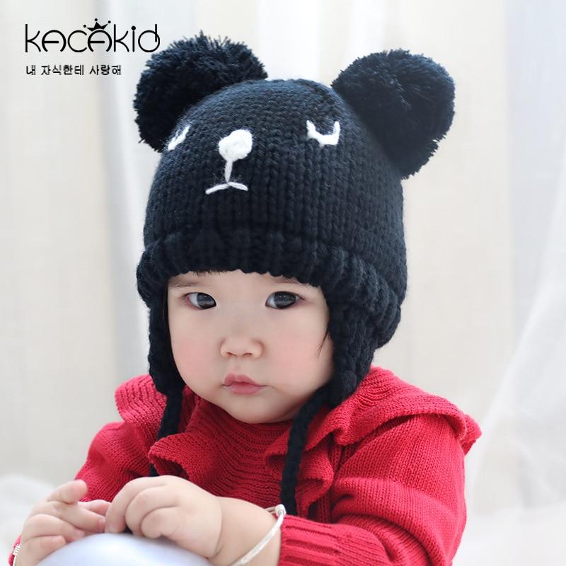 20b38d32a Dropwow KACAKID Winter Unisex Knitted Baby Hat Cute Cat Pattern Kids ...