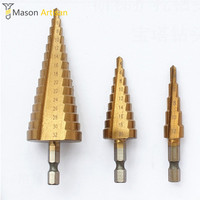 3Pcs Lot HSS Step Cone Drill Bits 1 4 Hex Shank 4 12 4 20 4