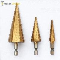 3Pcs Lot HSS Step Cone Drill Bits 1 4 Hex Shank 4 12 4 20 4