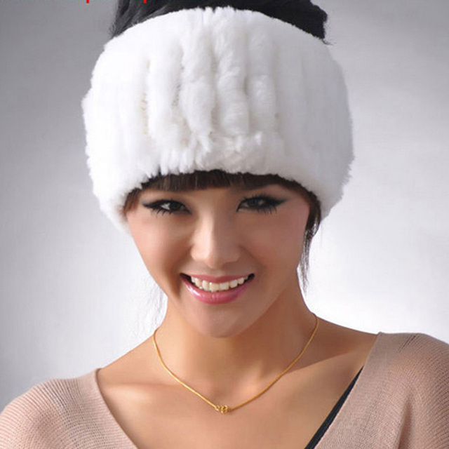 Hot Sale Real Fur Hat Women Knitted Natural Fur Headwear Genuine Rex Rabbit Fur Women's Hats Winter Hat YH047