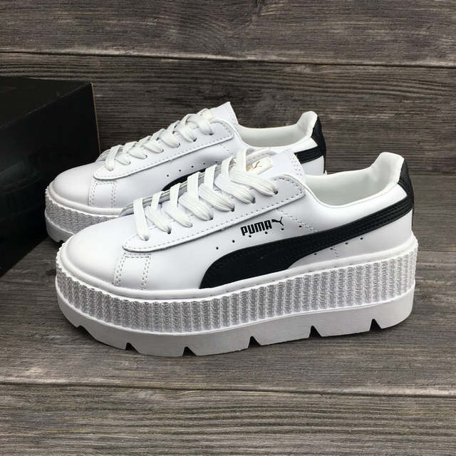 official photos cfb00 b949a PUMA FENTY Suede Cleated Creeper Women's First Generation Rihanna Classic  Basket Suede Tone Simple Badminton Shoes