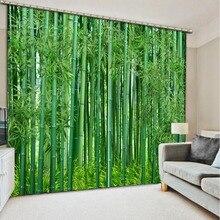 3D шторы Роскошные Затемненные окна Гостиная зеленый бамбуковые шторы украшения s