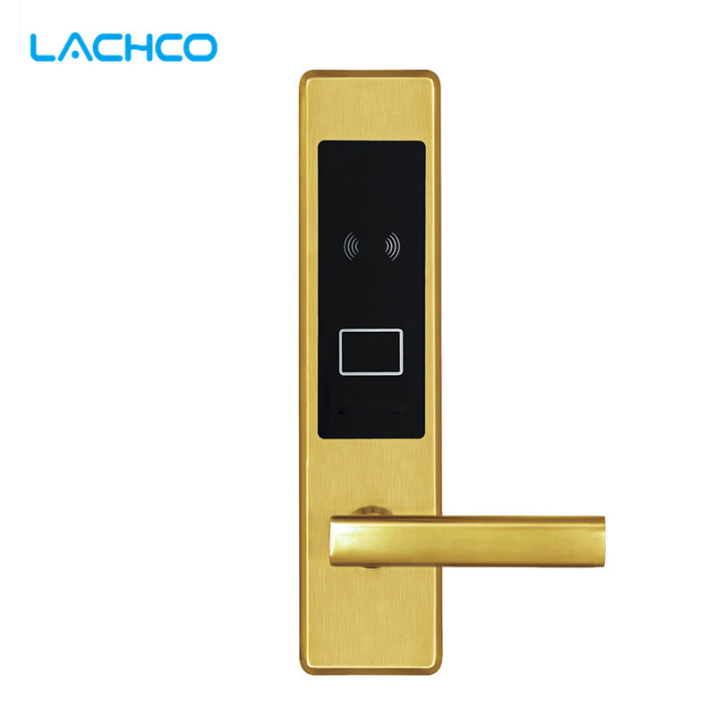 LACHCO Electronic RFID Card Door Lock with Key Lock For Home Hotel Apartment Office Smart Entry Latch with Deadbolt L16020SG lachco card hotel lock digital smart electronic rfid card for office apartment hotel room home latch with deadbolt l16058bs