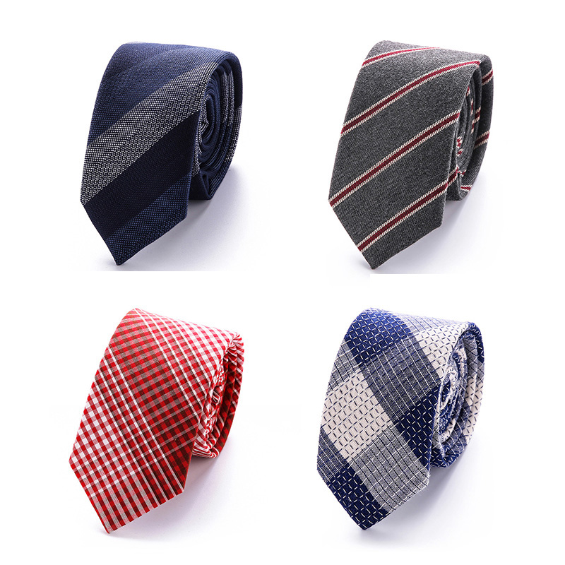 RBOCOTT Mens Plaid Tie 6cm Fashion Cotton Tie Grey White Slim Tie Red Blue Colorful Skinny Ties Striped Necktie For Men Wedding