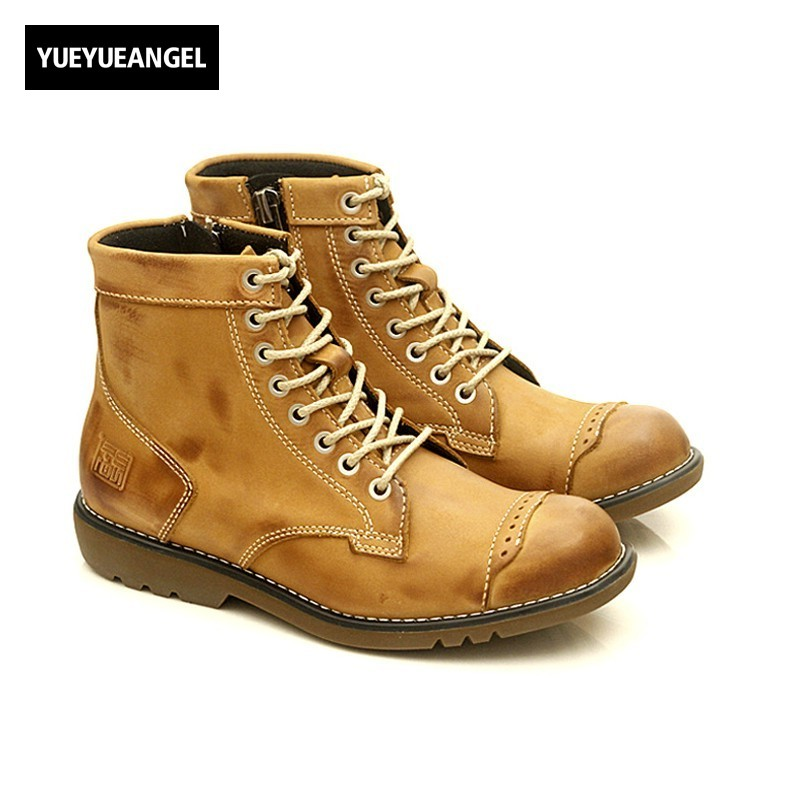 Hot Sale Men Fashion Shoes Breathable Anti Skit Genuine Leather Ankle Boots For Men Lace Up Comfortable Desert Boots Yellow