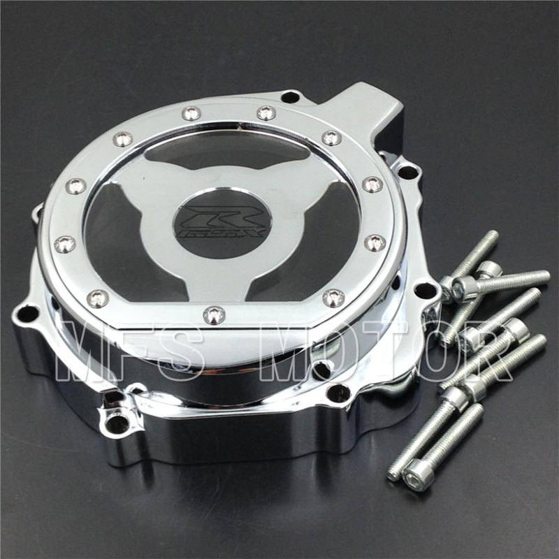 Motorcycle Left Engine Stator cover see through For Suzuki GSXR600 750 2004 2005 GSXR1000 2003 2004 CHROME aftermarket free shipping motorcycle accessories engine stator cover see through for suzuki 2004 gsxr600 750 1000 left black