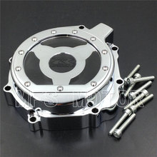 Motorcycle Left Engine Stator cover see through For Suzuki GSXR600 750 2004 2005 GSXR1000 2003 2004 CHROME free shipping motorcycle parts billet engine stator cover see through for suzuki gsxr 600 750 2006 2013 black left