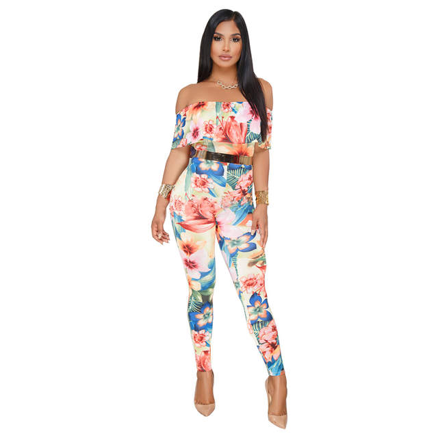 88739263ae61 placeholder Off Shoulder Sexy Floral Print Jumpsuits Two Piece Backless  Club Rompers Womens Jumpsuit Strapless Full Bodysuit