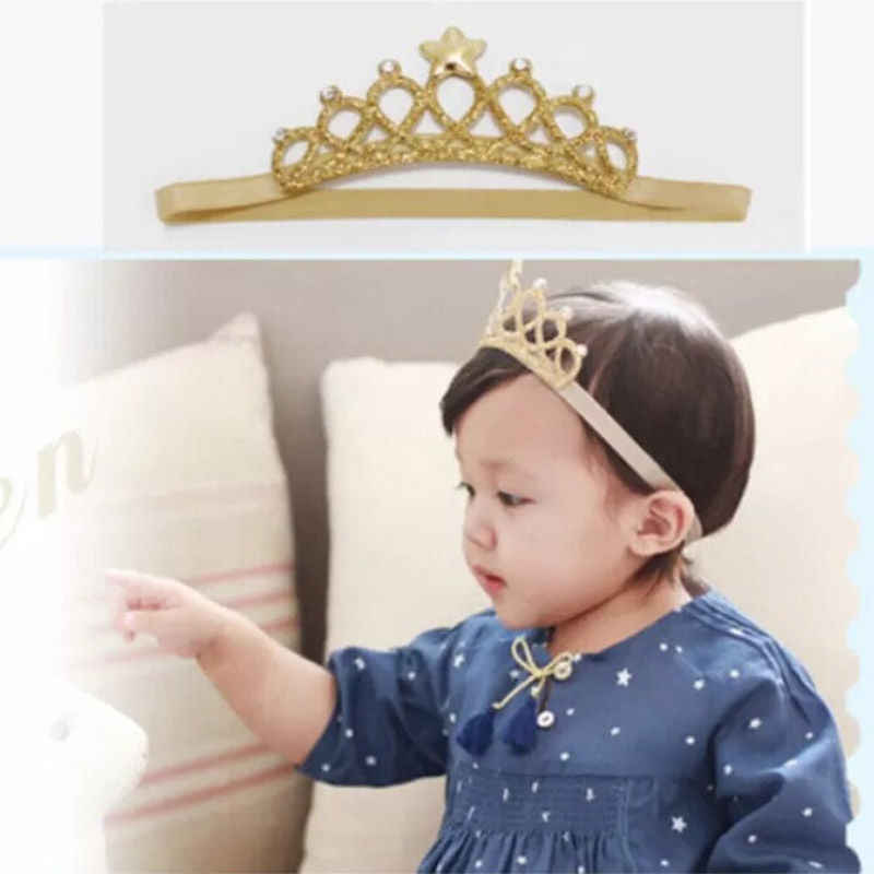 2019 Newest Hot Newborn Infant Baby Girl Headband Birthday Sequin Gold Silver Crown Princess Hair Band Accessory