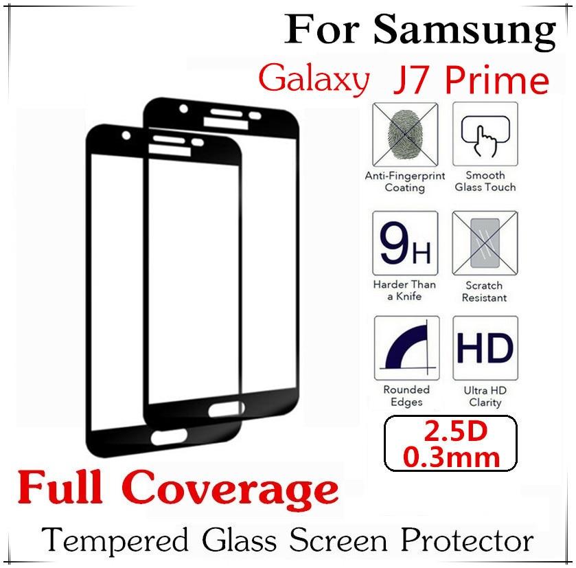 imágenes para 10 unids 2.5D Templado Protector de Pantalla de Seda Impresión de Cobertura Completa Para Samsung Galaxy J7 Primer Película Protectora De Pantalla Completa
