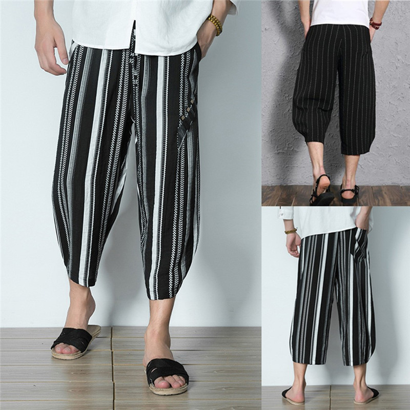 Joe Wenko Mens Harem Cotton Linen Elastic Waist Chinese Style Baggy Capri Pants