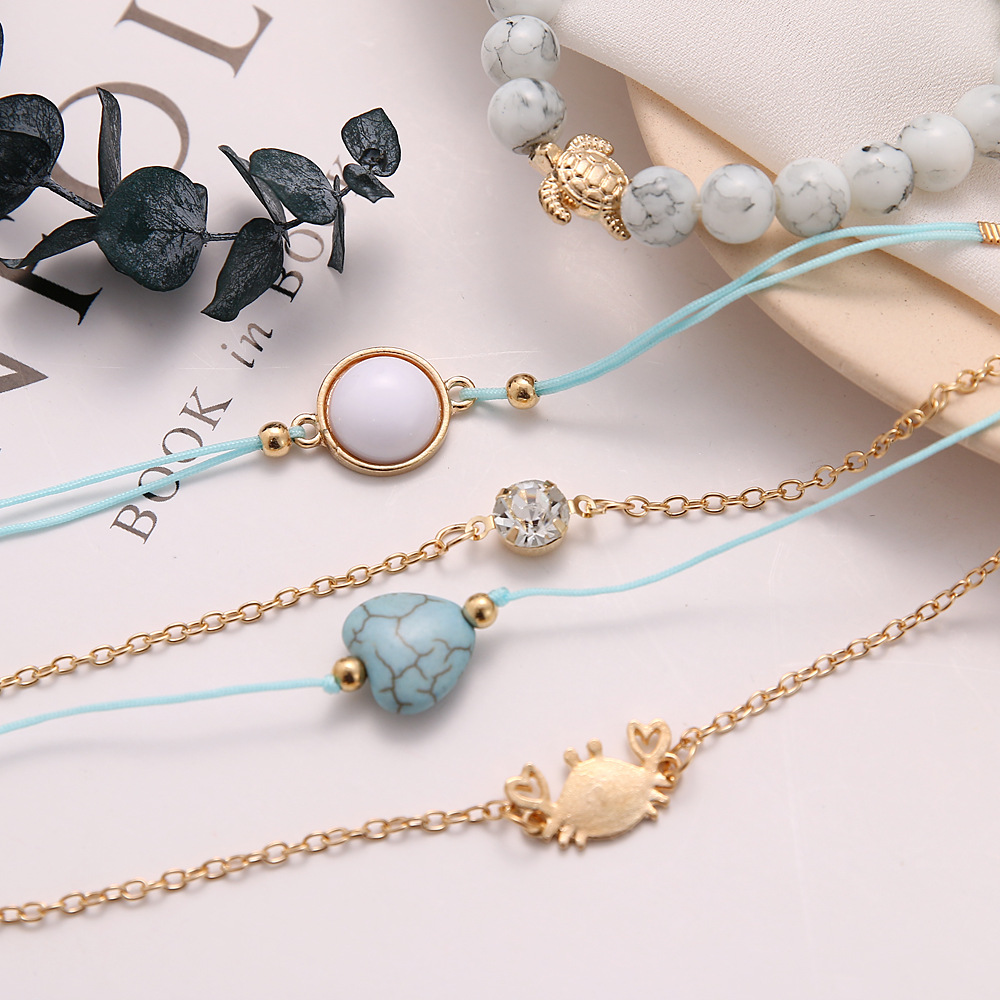5 Pcs Set Punk Crab Turtle Heart Crystal Round Gem Opal Bead Chain Leather Multilayer Bracelet Female Beach Jewelry Gifts in Strand Bracelets from Jewelry Accessories