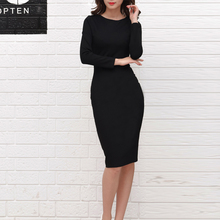 2016 Brand Autumn Women's Long Sleeve Scoop Neck Midi Dress Black Office Party Sexy Bodycon Casual Midi Slim Cotton Vestido Robe
