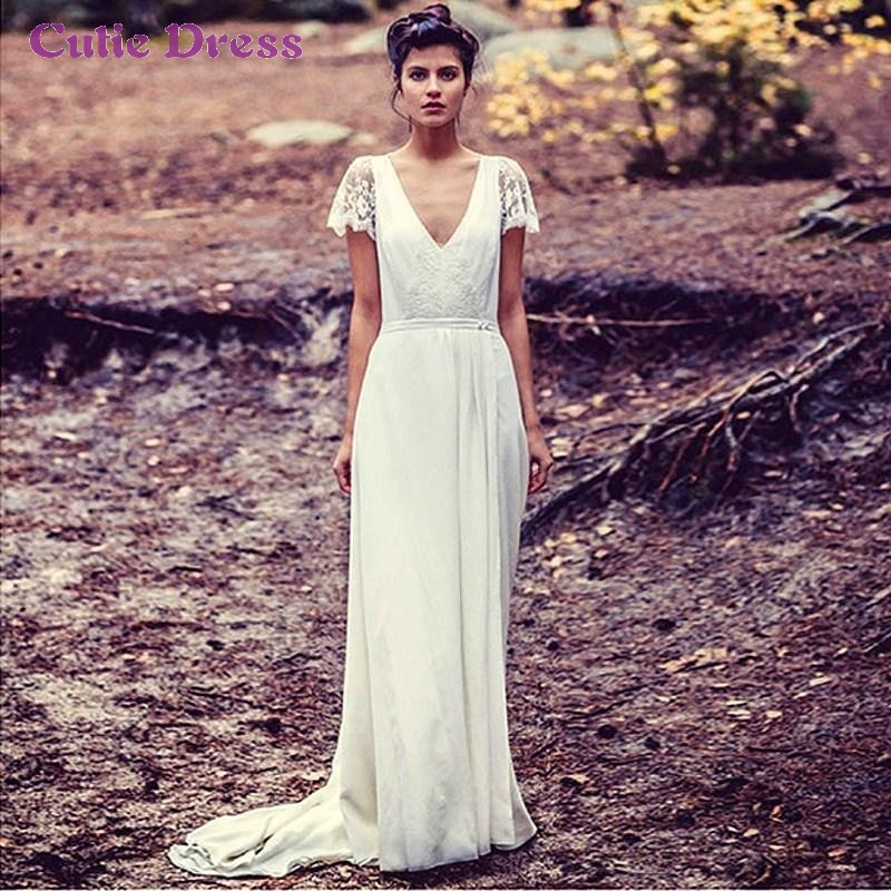 2016 Vintage V Neck Wedding Dress Long Boho Hippie Chiffon