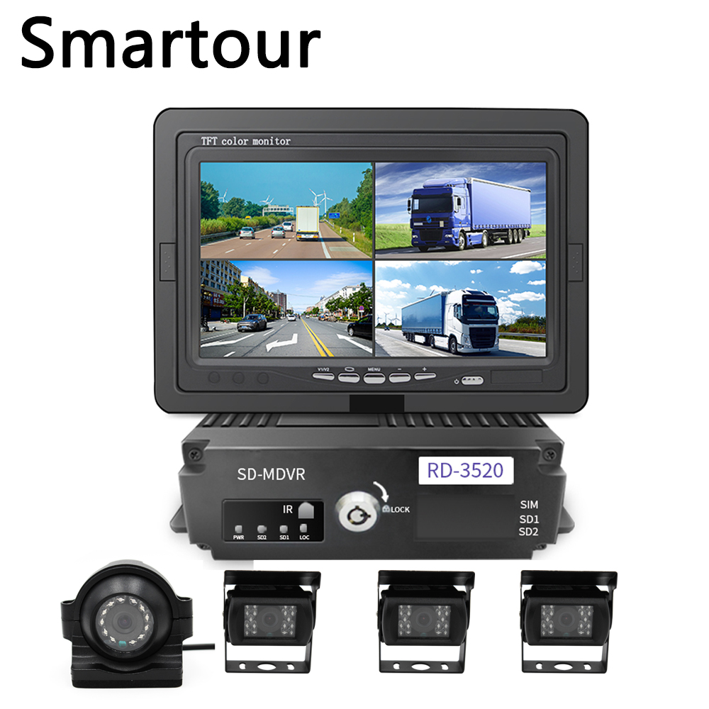 Ônibus escolar caminhão Do Carro 360 câmera panorâmica Smartour 4 dvr câmera gravador de condução antes e depois do vídeo câmara de marcha