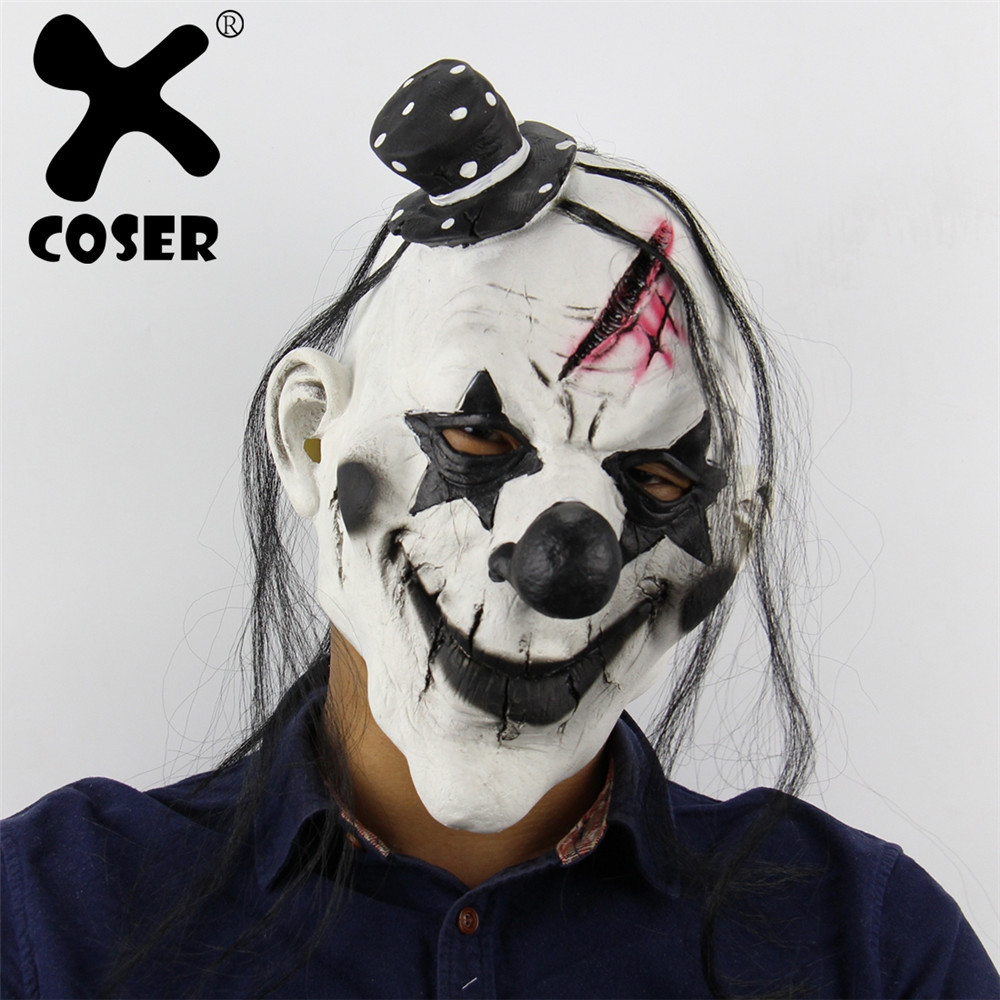 XCOSER Cheap Devil Clown Mask Latex Horror Scary Funny Mask Halloween Room Escape Props Wholesale Cheap Carnival Cosply Prop