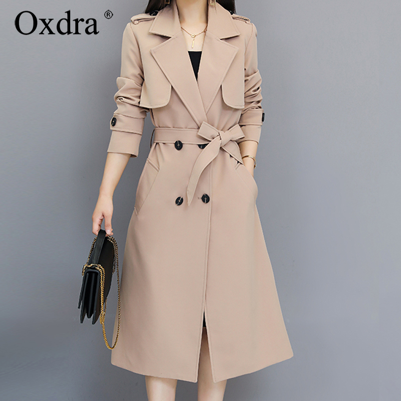 Oxdra 2019 Spring Autumn Classic Solid   Trench   Coat long Outerwear Loose Clothes For Lady With Belt Casual Outerwear