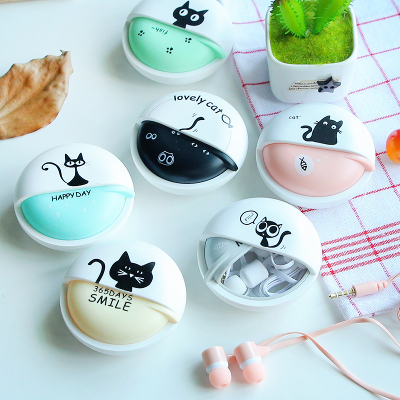 Cute Girls Cat Macarons 3.5mm in-ear Stereo Earphones with Earphone Case for iPhone Xiaomi Girls Kid Child Student for MP3 Gift cute cartoon cat claw style in ear earphones for mp3 mp4 more blue white 3 5mm plug