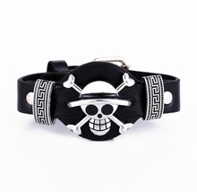 Fashion Anime Bracelets Punk Red Black Pirate King Skull Charms Wide Strap Wrap Leather Bracelets Jewelry For Men Women