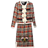 Autumn Winter European Women's Runway Chic Skirt Suits Bow Jacket Mini Slim Skirt Plaid Weaving Embroidery Twin Sets Tracksuits