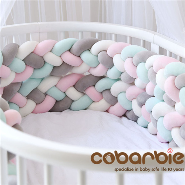 3.6M Length Heightening Baby Braided Crib Bumpers 4 Strip Knot Long Pillow Cushion,Nursery Bedding,cot Room Dector