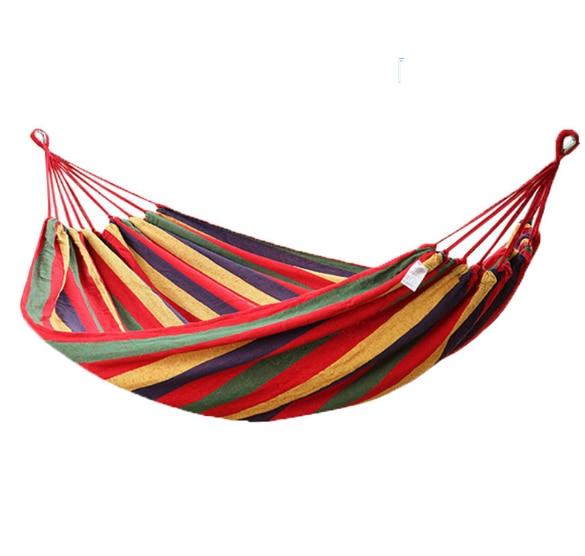 Outdoor Anti-rollover Canvas Swing Camping Single Double Camping Portable Folding Hammock Rainbow Stripe Wooden Hammock Q359