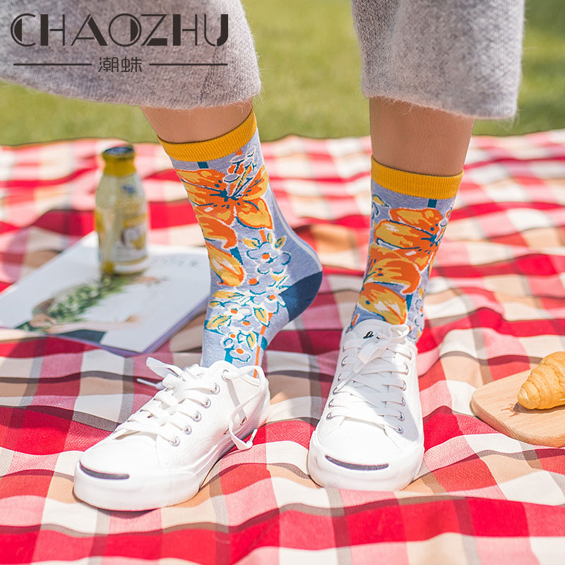 CHAOZHU New Creative Illustration Jacquard Women Cute Harajuku Cotton Happy   Socks   Floral/Girls Patterns Lady Lucky   Socks   Fashion