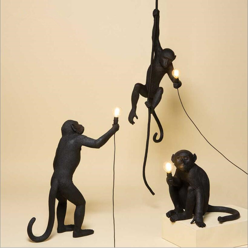 Modern Resin Black Monkey Lamp Loft Style Hemp Rope Black Monkey Lamp Chandeliers Lighting Pendant Hanging Ceiling Fixtures