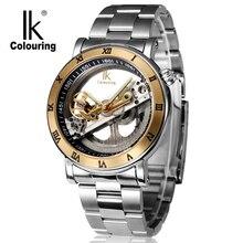 De moda de Lujo de Los Hombres Mecánicos Reloj Superior de la Marca IK Automático Esquelético Reloj Relojes Correa de Acero Inoxidable Resistente Al Agua Ocasional