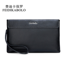 FEIDIKABOLO Rfid Wallet Genuine Leather Men Wallets Clutch Black Male Zipper Cowhide Leather Wallet Long Coin Purse Handy Bags long section mini wallet men 2017 manbang fashion casual pure cowhide simple zipper clutch wallets black mbq2674ah
