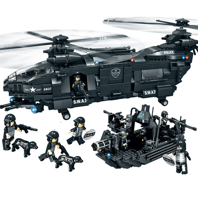 Large Armed Transport Helicopter Landing Craft Military Hobby Models & Building Toy Swat Educational Blocks For Children wavy rectangle metal frame ombre sunglasses