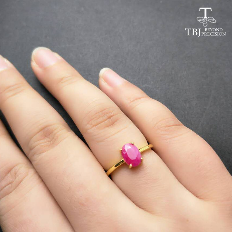 TBJ,100% natural real Ruby gemstone Ring in 925 sterling silver yellow gold fine jewelry color for women with gift box