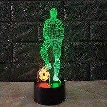 3D futbol dokunmatik masa lambası 7 renk değiştirme masa lambası USB Powered gece lambası futbol LED ışık yatak odası dekoru hediye