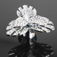 Top Quality Glass Diamond Flower Knobs K9 Clear Crystal Drawer Cabinet Pulls Knobs Shiny Chrome Modern