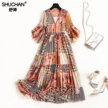b3a38c33ab66c66 Product Offer. Shuchan Инди фолк шифоновое платье лето Flare рукавом v-образным  вырезом ...