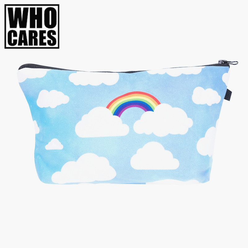 rainbow clouds 3D Printing women makeup bag neceser bolsos font b mujer b font de marca