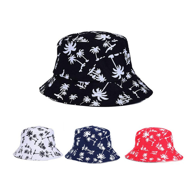 High Quality New Outdoor Mesh Sunshade Fishing Graffiti Flat Bucket Hat  with Coconut Tree Pattern Outdoor 1ba98a82e43